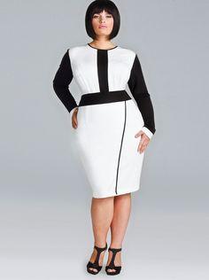 """Melanie"" Ponte Faux Wrap Dress - Ivory/Black - Wear to Work - Monif C"