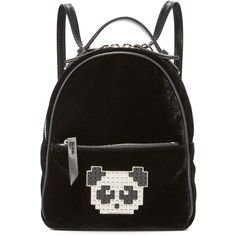 les petits joueurs Baby Mick Panda Backpack (12,235 MXN) ❤ liked on Polyvore featuring bags, backpacks, black, day pack backpack, velvet backpack, studded backpack, velvet bag and studded bag