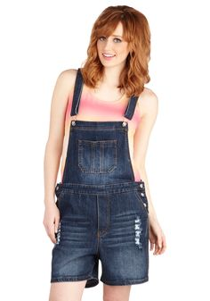 Useful and Unique Overalls. Center your look around these denim overalls to create an ensemble that boasts as much panache as it does practicality! #blue #modcloth