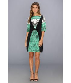 You command attention in this Modahnik™ Green Henna Print Silk Dress!. This classic sheath silhoue...