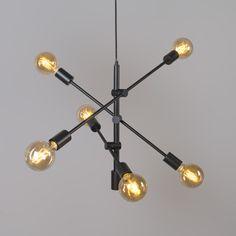 Shop for Industrial hanging lamp black 6 lights - Sydney online! Dining Chandelier, Dining Room Lighting, Home Lighting, Ceiling Lamp, Ceiling Lights, Modern Office Decor, Home Design Decor, Home Decor, Light My Fire