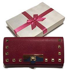 Michael Kors Callie Stud Carryall Clutch Wallet Cherry Saffiano Leather