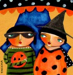 Halloween Tricksters PRINT 6x6 by tascha on Etsy