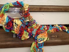 Ruffle Fashion Scarf rainbow colors by AStitchNiche on Etsy, $25.00