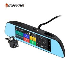 """TOPSOURCE New 7"""" Special 3G CAR Mirror Rearview Car DVR Camera DVRs Android 5.0 With GPS Navigation Automoblie Video Recorder Rear View Mirror, Car Mirror, Mirror Glass, Unique Maps, Dvr Camera, White Mirror, Phone Mount, Dashcam, Gps Navigation"""