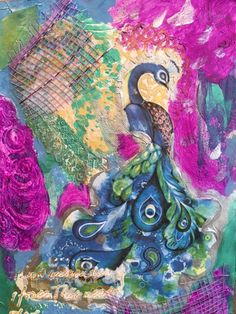 Mixed Media Canvas altered Peacock by Heather Renee