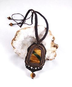 Tiger's Eye Micro Macrame Necklace by knottyandnyce on Etsy, $80.00