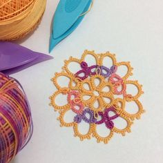 Pattern #22 of Forty Original Design in Tatting by Nellie Hall Youngburg The Online Tatting Class - March 14.2016 (www.georgiaseitz.com) Lizbeth Thread size 20 col 139 & 696 Tatted by me  #tatting #shuttletatting #lizbethtread #handcraft #hobbycraft #mother #housewife #hobby #handmade #tattinglace by annietatting