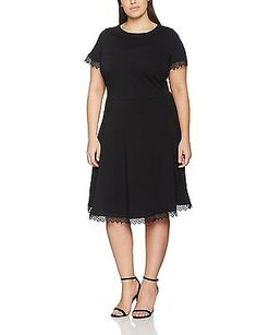 18, Black, Dorothy Perkins Curve Women's Lace Trim Fit and Flare Dress NEW