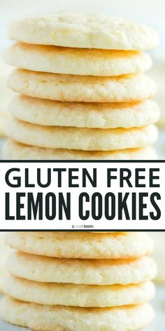 Quick and Easy Gluten Free Lemon Cookies recipe that you'll love! perfect for those new to gluten free baking. Gf Cookie Recipe, Gluten Free Cookie Recipes, Gluten Free Sweets, Gluten Free Cooking, Gluten Free Deserts Easy, Gluten Free Shortbread Cookies, Cookies Soft, Cookies Et Biscuits, Lemon Cookies Easy