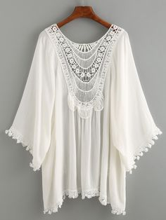 Kimono ribete de encaje crochet -blanco-Spanish SheIn(Sheinside) Sitio Móvil