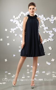 Unique Scoop Wrinkled Black Chiffon Bridesmaid Dress With Flowers