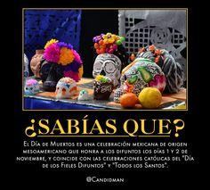 """#Curiosidades #SabiasQue El #DiaDeMuertos es una #Celebracion #Mexicana de origen #Mesoamericano que honra a los #Difuntos los días 1 y 2 de #Noviembre, y coincide con las #Celebraciones #Catolicas del """"Día de los #FielesDifuntos"""" y #TodosLosSantos.  @candidman"""