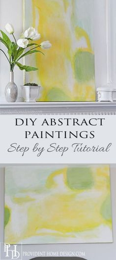 This Wisteria Inspired DIY Abstract Painting will bring a pop of color to any space!  Come learn how to make your own at www.providenthome....