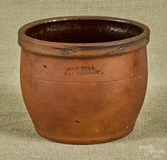 Pennsylvania redware crock, 19th c., impressed John Bell Waynesboro, 4 3/4'' h. - Price Estimate: $20 - $40