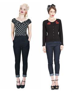 Collectif Sally Denim Capri Pants Cropped Jeans Black Blue Rockabilly 1950's New