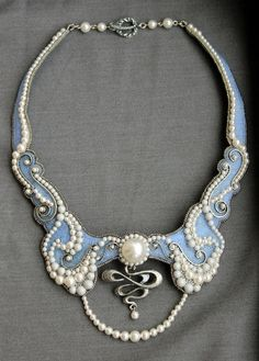 """Air"" - bead embroidered neckpiece by Russian beadworker nadkud"