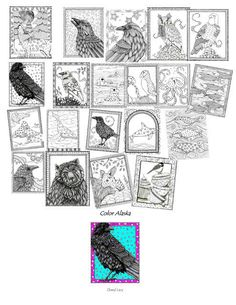 Whimsical Alaskan animals ready for you to color by Cheryl Lacy. I had these printed on single sided paper so you can use any medium (pencils, colors, markers,