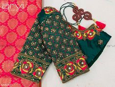 Stunning bottle green color designer blouse with floral design hand embroidery thread and zardosi work on sleeves. Best Blouse Designs, Simple Blouse Designs, Stylish Blouse Design, Bridal Blouse Designs, Simple Designs, Lehenga Designs, Pattu Saree Blouse Designs, Lehenga Blouse, Air Jordan 3