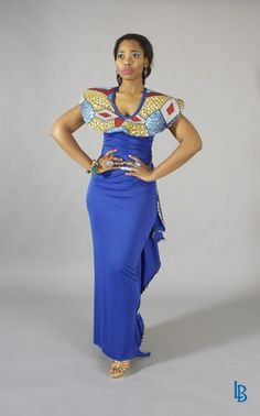 royal blue african dress | African Touch | Linda Bezuidenhout Apparel