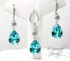 Teal Blue Earrings and Necklace Set Swarovski Crystal Light Turquoise Bridal Teardrop Earrings Something Blue Bridesmaid Gift Tiffany Blue