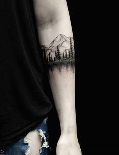 40 Landscape Tattoo Ideas - 40 Landscape Tattoo Ideas You are in the right place about 40 Landschaft Tattoo Ideen Tattoo Design - Ankle Band Tattoo, Forearm Band Tattoos, Body Art Tattoos, Small Tattoos, Tattoos For Guys, Band Tattoos For Men, Unique Tattoos, Natur Tattoo Arm, Natur Tattoos