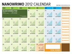 NaNoWriMo Tracking Word Count Calendar