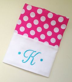 Personalized Pink Polka Dot Pillowcase by AChildsHearth on Etsy, $19.95