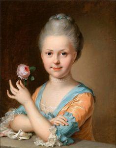 Portrait of a Young Girl with a Rose - Johann Heinrich Tischbein the Elder - circa 1760-1769
