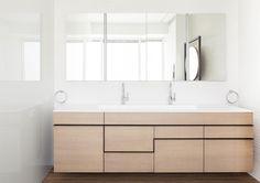 bathroom cabinet & drawer detail, floating wood cabinet