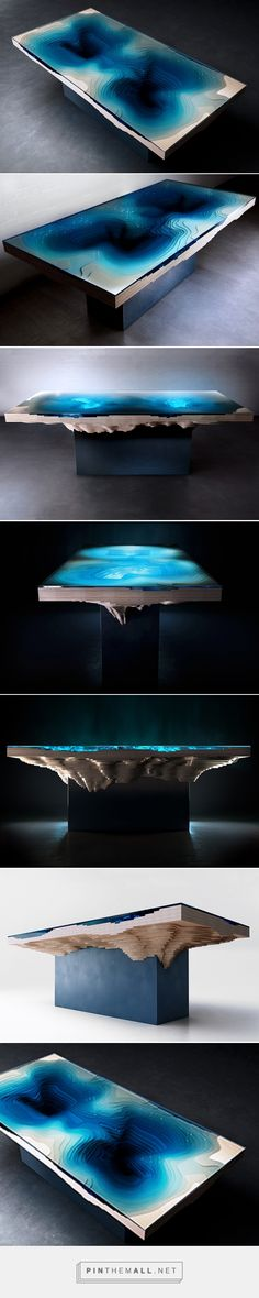 duffy london replicates the ocean depths with the abyss dining table - created on Resin Furniture, Unique Furniture, Furniture Design, Wood Resin, Resin Art, Wood Projects, Woodworking Projects, Design Tisch, Resin Table
