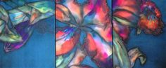 """SANTA FE TRIPTYCH  with stenciled acrylic paint  16 x 42"""" by Suzanne Punch"""