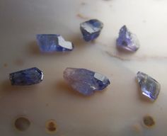 6 Tanzanite Crystals  gemstone specimen small  by CoyoteRainbow