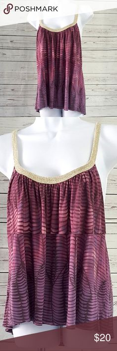 "Ecote for UO gold trimmed purple tank top/Size M Ecote for Urban Outfitters gold trimmed graduated color purple halter tank top. Very good pre-owned condition with no stains or tears, some wash wear.  Size M  Measurements are approximate and taken laying flat: armpit to armpit: 19 1/2"" center of neckline to hem: 17""  B7 Ecote Tops Tank Tops"