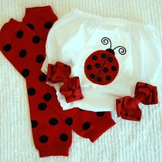 Ladybug Bloomer with Matching Leg Warmers by ToBeStitched on Etsy, $27.99