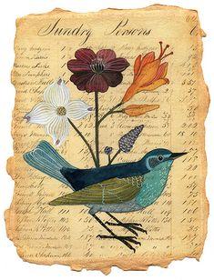Beautiful piece by Geninne.  #art #bird #antique #print #colour #drawing #flowers #book