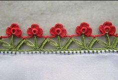 Double Row Red Roses Easy Crochet Lace Making - Crochet Lace Edging, Crochet Borders, Crochet Trim, Easy Crochet, Crochet Stitches, Crochet Baby, Baby Knitting Patterns, Crochet Patterns, Phulkari Embroidery
