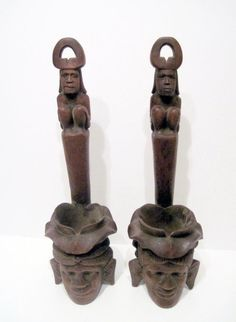 2 Carved Exotic Wood Head Candle Sconces Sculptures