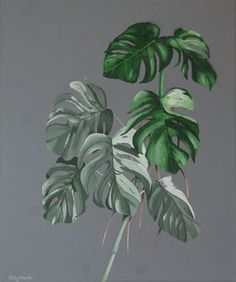 Tropical Leaves Painting - Monstera Variegated Cheese Plant 3D Textured Leaves Acrylic on Canvas by Cathy Savels
