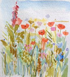 Original Water Colour Painting 'Field Flowers' Signed