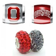 Teagan Collegiate Collection Bead: Ohio State Combo set. This bundle contains four Ohio State Beads:     OSU1 Red O on Gray Bead     OSU4 Ohio State on Red Bead     BPSCR20 925 Silver Swarovski Gray/Silver Bead     BPSCR35 925 Silver Swarovski Red Bead  Beads are 925 Silver and Enamel. These are Teagan – Swarovski beads and they are compatible with Pandora, Biagi, Zable, Brighton, Troll and many other European style bracelets.