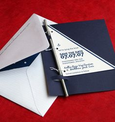 Though this is  a nautical wedding invite, I like it for an ocean themed party.