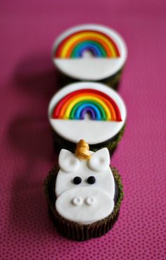 Unicorn cupcake idea - maybe a small unicorn cookie cutter to cut out fondant and place on top? Can frost on rainbows..