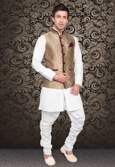 Golden Art Silk Brocade Readymade Nehru Jacket: MHG195