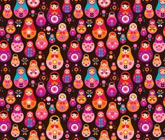 matryoshka russian doll kids pattern fabric by littlesmilemakers on Spoonflower - custom fabric
