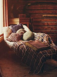 Granny blanket that is actually on trend for colors ;)  with matching pillows  Heavenly.