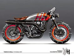 El Solitario MC Yamaha by Holographic Hammer with snowchains Cafe Racer Motorcycle, Moto Bike, Motorcycle Design, Bike Design, Custom Motorcycles, Custom Bikes, Concept Motorcycles, Holographic Hammer, Rockers