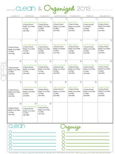 awesome printable monthly cleaning schedules #organizing #printables