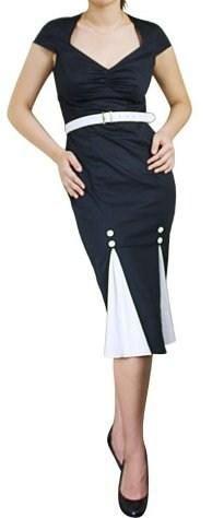 50's Style Black & White Pencil Dress! FREE SHIPPING