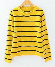 Irregular Vertical Stripes Hem Pullover - Clothing | Online ...